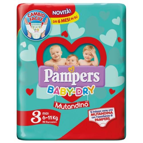 PAMPERS BABY DRY MUTANDINO MINI TAGLIA 3 (6-11KG) 19 PANNOLINI