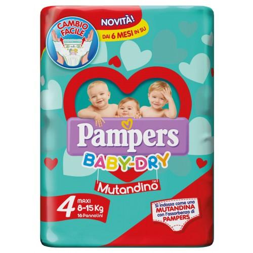 PAMPERS BABY DRY MUTANDINO MAXI TAGLIA 4 (8-15KG) 16 PANNOLINI