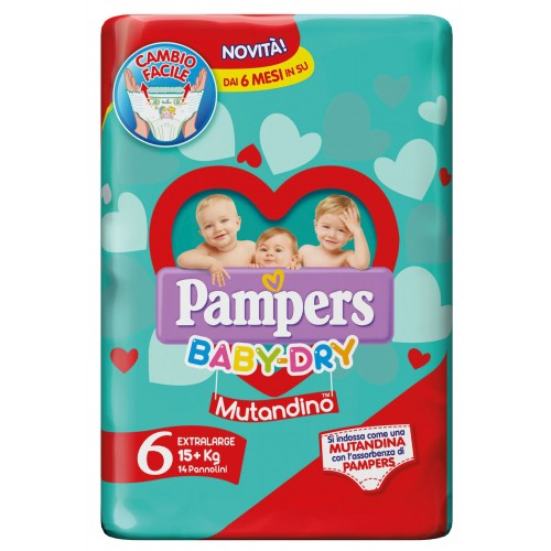 PAMPERS BABY DRY MUTANDINO EXTRA LARGE TAGLIA 6 (15-30KG) 14 PANNOLINI