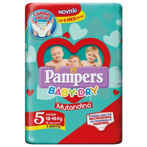 PAMPERS BABY DRY MUTANDINO JUNIOR TAGLIA 5 (12-18KG) 15 PANNOLINI