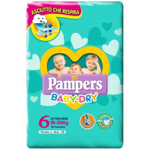 PAMPERS BABY DRY PANNOLINI PER BAMBINI TAGLIA 6 XL 15-30KG 14 PEZZI