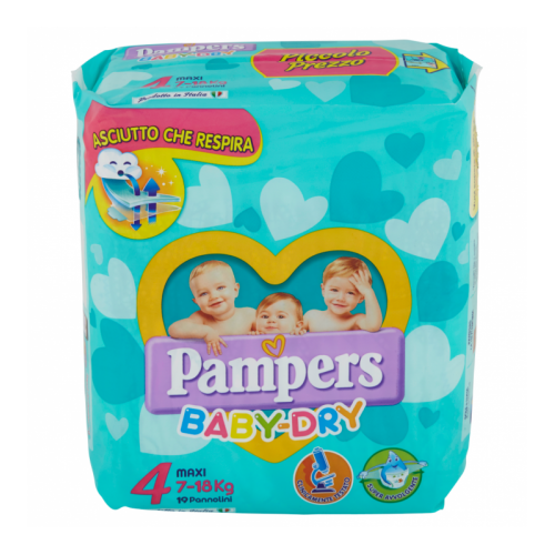 PAMPERS BABY DRY MISURA 4 MAXI (7-18KG) 19 PANNOLINI