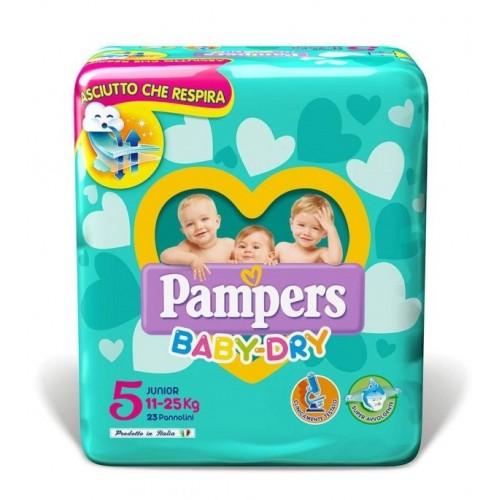 PAMPERS BABY DRY DOWNCOUNT NO FLASH JUNIOR MISURA 5 (11-25KG) 17 PANNOLINI