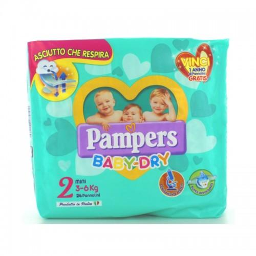 PAMPERS BABY DRY DOWNCOUNT NO FLASH MINI MISURA 2 (3-6KG) 24 PANNOLINI