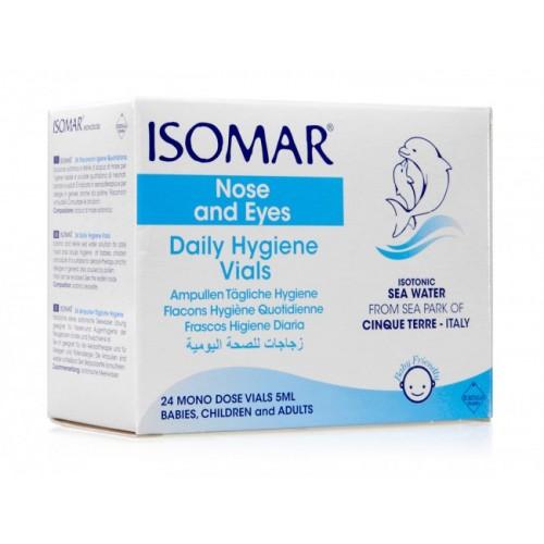 Isomar soluzione isotonica acqua mare igiene quotidiana 24 flaconcini monodose 5 ml